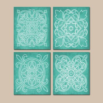 AQUA Wall Art Canvas or Prints Abstract Modern, Medallion Outline, Bathroom Picture, Bedroom Decor, Matching Decor, Set of 4 Home Decor