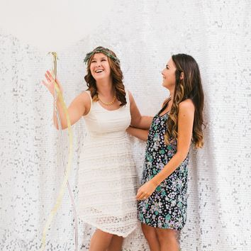White Sequin Backdrop for Photo Booth | Different & Colors Sizes available