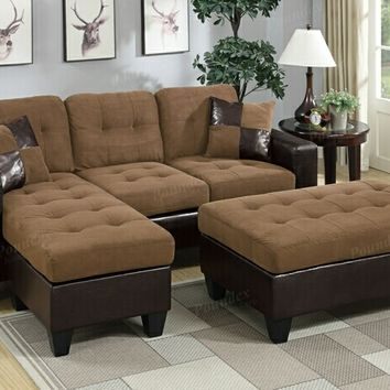 2 pc Daryl collection 2 tone saddle microfiber fabric upholstered reversible sectional sofa set with chaise and ottoman