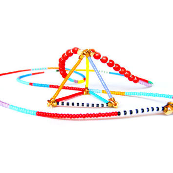 3D Triangle Necklace - Beaded Tribal Necklace - Geometric Necklace - 3D Necklace - Seed Bead Necklace - Colorful Necklace - Hippie Necklace