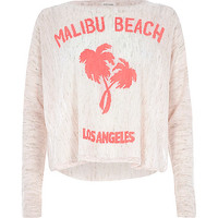 River Island Womens Pink linen Malibu Beach print top