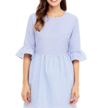 Navy White Stripe Flounce Sleeve Seersucker Dress