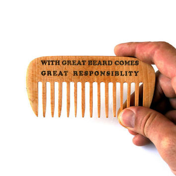 Custom Wooden Beard Comb ~WIDE TEETH~ Engraved Hair Beard Moustache Comb Fathers Day Gift for Him Husband Gift Friend Gift Beard Grooming