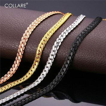 DCCKU62 Collare Trendy Men Snake Chain Black Gun/Rose Gold/Gold/Silver Color Necklace Men Link Chain Jewelry Party Gift N513