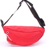 Red Adjustable Click Buckle Inner Zipper Printed Shark Mouth With Zipper Fanny Pack