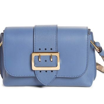 Burberry Women's Buckle Leather Crossbody Bag, Slate Blue, Small, MSRP $1,295
