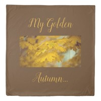 Yellow autumn maple leaves. Add you text or name. Duvet Cover