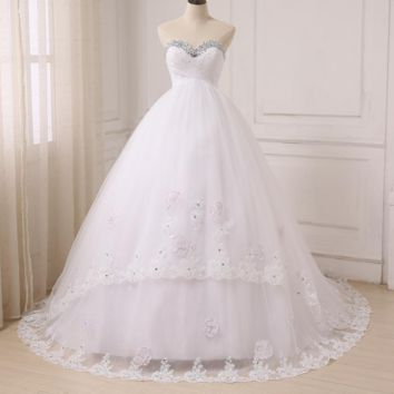 Pregnant Ball Gown Wedding Dresses Sweetheart Sleeveless Sweep Train Tulle Bride Wedding Gowns