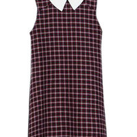 Red Plaid Shift Dress With White Collar - Choies.com