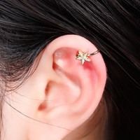 DoreenBeads 2016 Summer Star Ear Bones Clips Earrings Ear Cuff Woman Fashion Bohemia Style 7x7mm 1Piece