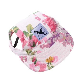 Pet Dog Cute Baseball Cap Hat Small Dogs Summer Outdoor Adjustable Hats With Ear Holes Headdress Accessories