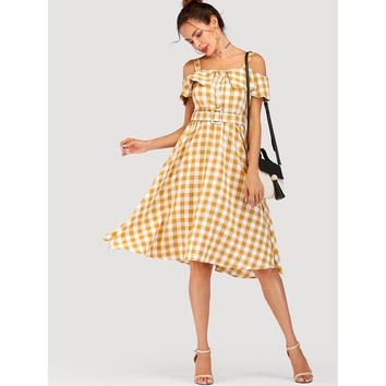 Yellow Open Shoulder Sleeveless Check Plaid Dress