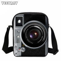2017 VEEVANV Men Messenger Bags Vintage Camera Printing School Bags Casual Children Fashion School Shoulder Crossbody Bag Small