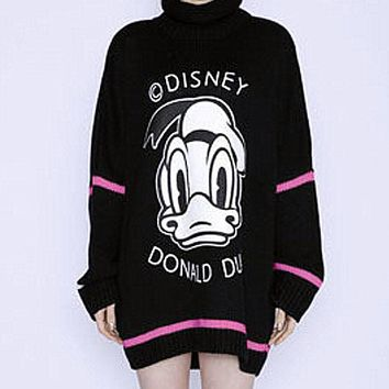 One-nice™ Printing love stick cloth embroidery MIDI knitting a sweater dress Black