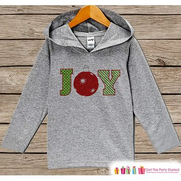 Joy With Ornament - Cute Kids Christmas Outfit - Grey Christmas Sweater - Kids Hoodie Pullover - Holiday Shirt for Baby, Toddler, Youth