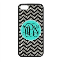 Monogram Personalized Black Grey Turquoise Chevron Pattern (NOT ACTUAL GLITTER) APPLE IPHONE 5 or 5S Best Durable Laser Technology Rubber+PVC Cover Case