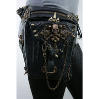 Fashion Steam Punk Skull Gothic Waist Leg Bag PU Leather Rivet Leg Thigh Holster Bag Personalized Phone Purse Messenger Bag
