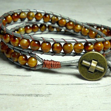 Carmel Bead Wrap Bracelet, Wrap Around, Leather Brown Wrap Bracelet