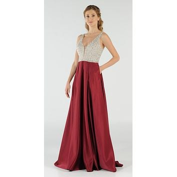 CLEARANCE - Burgundy Beaded Bodice V-Neck Long Prom Dress with Pockets (Size Small)