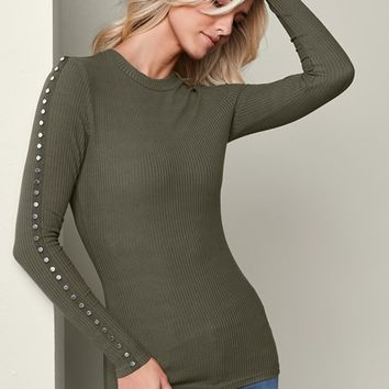 Olive Studded Sleeve Ribbed Top from VENUS