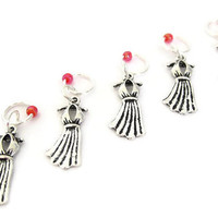 Charmed Stitch Marker Set | Beaded Stitchmarker | Knitting Stitch Marker | Knitting Gift | Dress charm with red beads | #S002