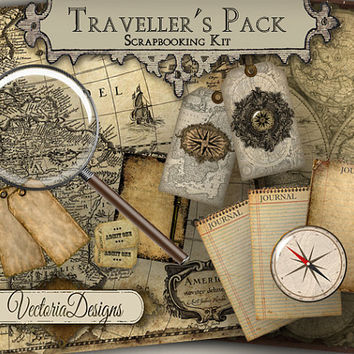 INSTANT DOWNLOAD Traveller's Pack Digital Scrapbooking Kit Vintage Images Digital Collage Sheet 376