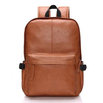 Fashion Men Leather Backpacks,Large Capacity Solid Color Student Backpacks
