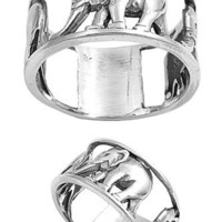 Sterling Silver Elephant Ring (Size 5 - 10)