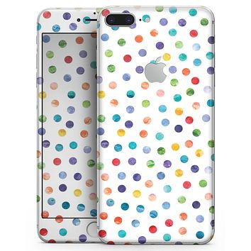 Rainbow Watercolor Dots over White - Skin-kit for the iPhone 8 or 8 Plus