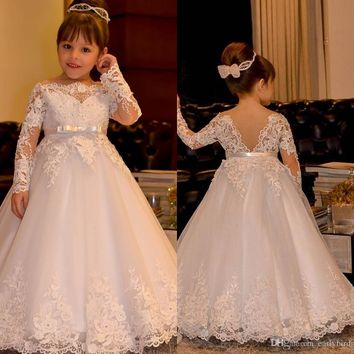 2017 Cute Off Shoulder Bateau Long Sleeves Flower Girls' Dresses With Sash Princess Lace Appliques Tulle Wedding Girls Dresses Backless Gown