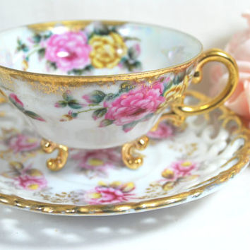 Vintage Lusterware Tea Set Gold and Pale Pink , Tri Footed Tea Cup and Openwork Saucer in Fine Porcelain