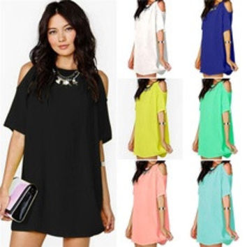 2016 Women's Hot Sale Fashion Candy Color Short Sleeve Soft Chiffon Bodycon Short Dress [7956717511]