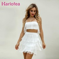 Karlofea New Tassel Layer Fringe Strap Top And Short Dress Boho Casaul  Chic Women Outfits Fashion Two Piece Summer Beach Dress