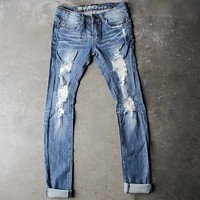 5th street distressed skinny denim jeans - medium wash