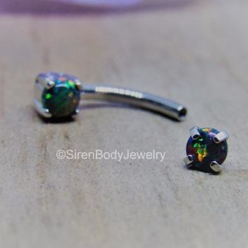 """Daith piercing barbell 16g black opal curved bar vertical labret body jewelry titanium 5/16"""""""