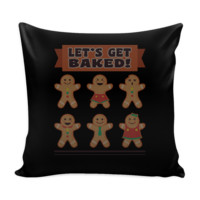 Let's Get Baked Festive Funny Ugly Christmas Holiday Sweater Decorative Throw Pillow Cases Cover(4 Colors)