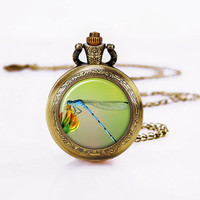 Dragonfly Pocket Watch, nature,Flesh Necklace for girls, Birdemaid's Wedding Necklac,e Bride's Jewelry