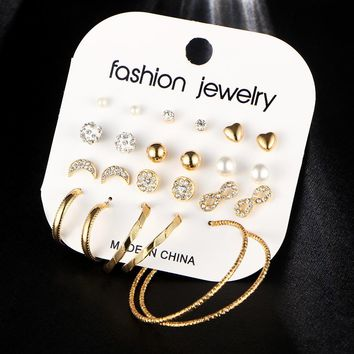 Trendy Fashion Hoops, Studs and Pearl Earring Set for Women