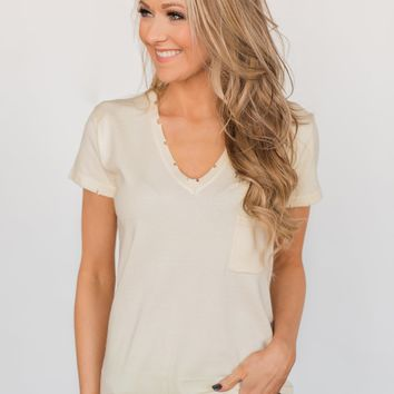 Eyes On You Distressed Short Sleeve Top- Vanilla