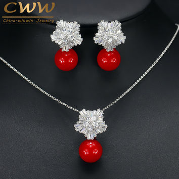 New Fashion Jewelry Cubic Zircon Flower With Big Red Pearl Pendant Necklace And Earrings Set For Ladies Best Friend Gift T209