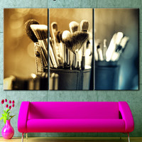 Makeup, canvas on the wall makeover, Cosmetic Brush print, Cosmetic brush art, makeup art painting, wall decor, canvas in office