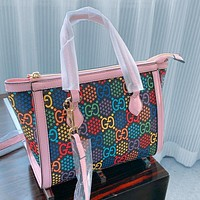 Gucci 2020 New Jumping Candy Series Shoulder Double G Hand Stitch Top Bag Pink