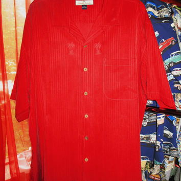 Amazing Vintage Hawaiian Shirt TOMMY BAHAMA  Red W Palms  Size XL  100% Silk  Very Collectible