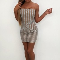 Cocktail Hour White Glitter Sheer Mesh Stripe Strapless Bodycon Mini Dress