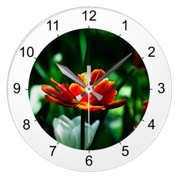 Red Tulip - His Majesty the King Large Clock