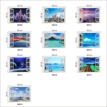 Windows Landscape Sea Views Blue Sky Wall Stickers Decal Vinyl 3D Wallpaper Posters Mural