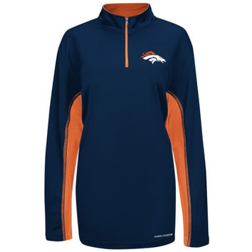 Denver Broncos Majestic Defending Zone Cool Base Quarter Zip Jacket - Navy Blue