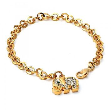 Gold Layered Charm Bracelet, Elephant Design, with Crystal, Golden Tone
