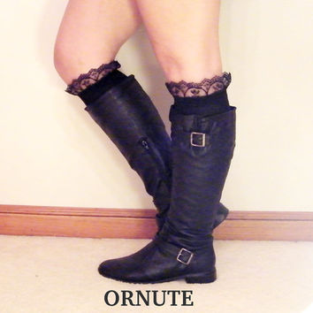 Lace Knee High Boot Socks- Women/Teen Lacey Socks with Ruffles - Black Lacy Boots Socks Black Lace Socks- Ready to Ship