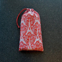 Pointe Shoe Bag, Red Eiffel Tower. Breathable cotton & mesh dance shoe bag.